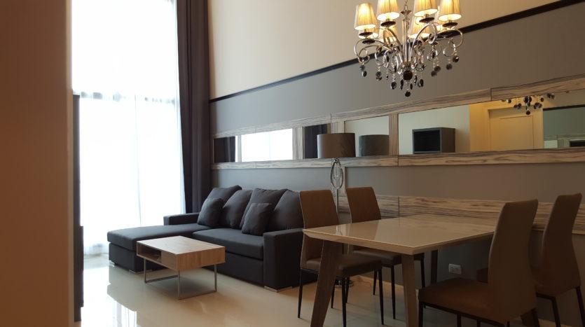 Two bedroom duplex for rent in Asoke - Living room