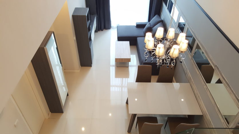 Two bedroom duplex for rent in Asoke - Downstairs